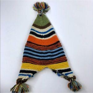 Baby Gap Multi Colored Stripe Pom Pom Beanie